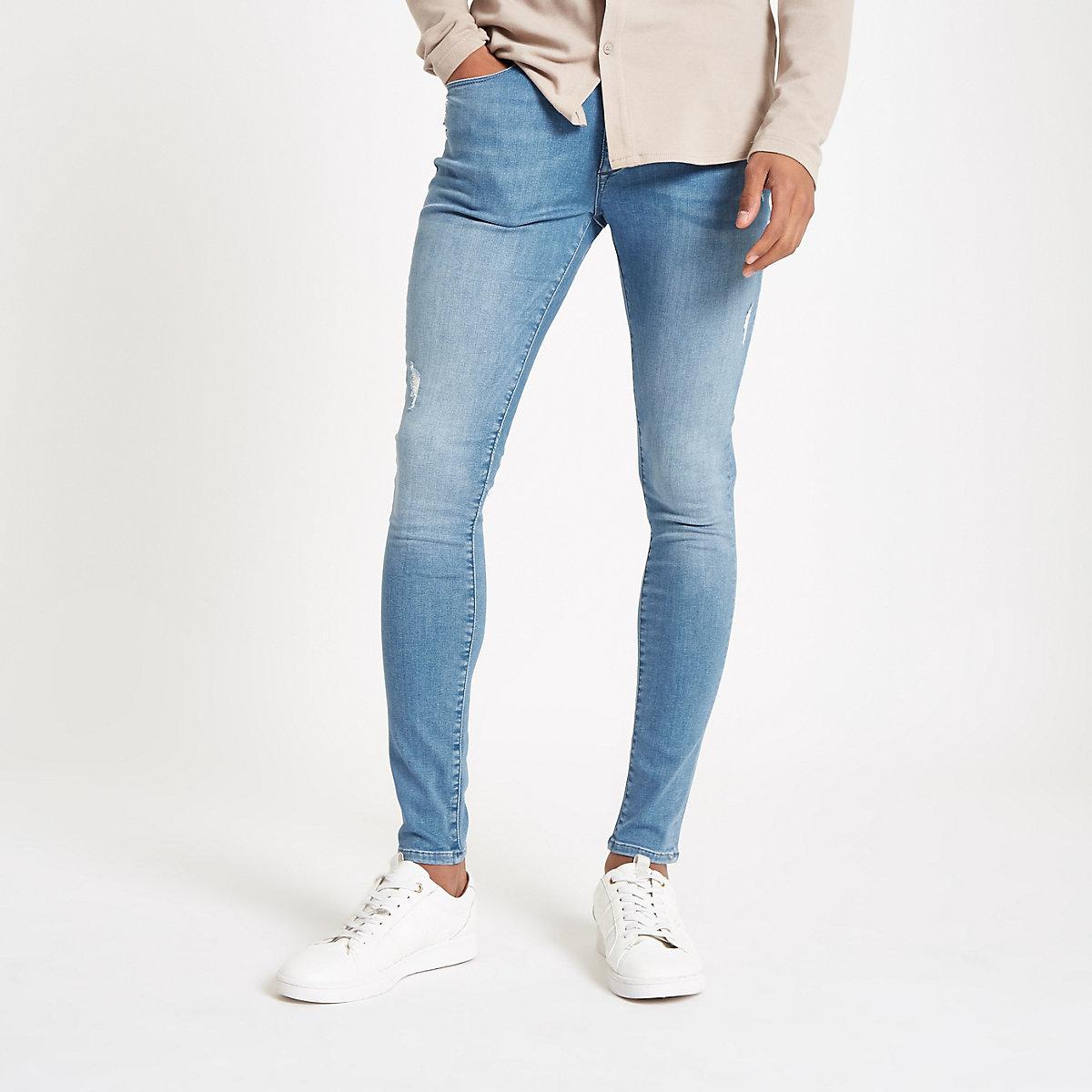 Mid blue Ollie super skinny spray on jeans