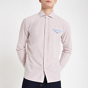 Pepe Jeans – Chemise à fines rayures rose