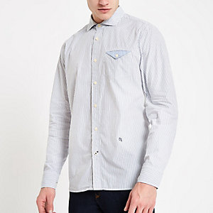 Pepe Jeans – Chemise à fines rayures bleue