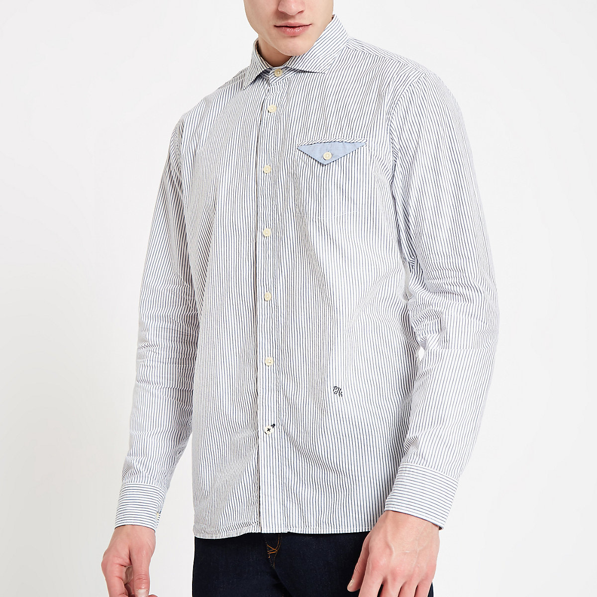 Pepe Jeans blue fine stripe shirt