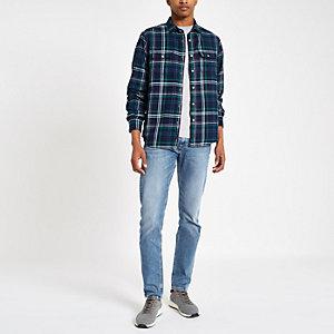 Pepe Jeans – Marineblaues, kariertes Button-Down-Hemd
