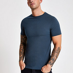 Marineblaues Muscle Fit T-Shirt