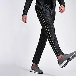 Pantalon bleu marine slim à bande sur le côté imprimé mosaïque