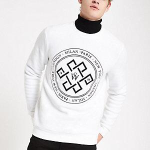 Weißes Slim Fit Sweatshirt mit Print