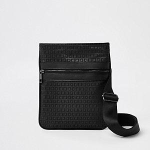 Zwarte schoudertas met RI-monogram