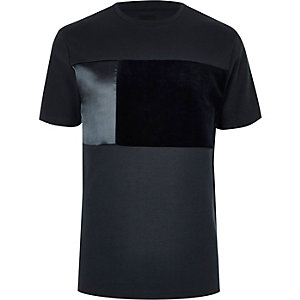 Big and Tall navy block crew neck T-shirt