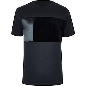 Big and Tall - Marineblauw T-shirt met kleurvlakken en ronde hals