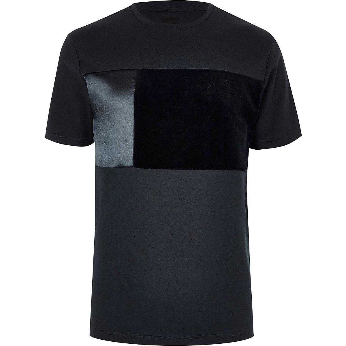 Big and Tall – T-shirt color block bleu marine à col ras-du-cou