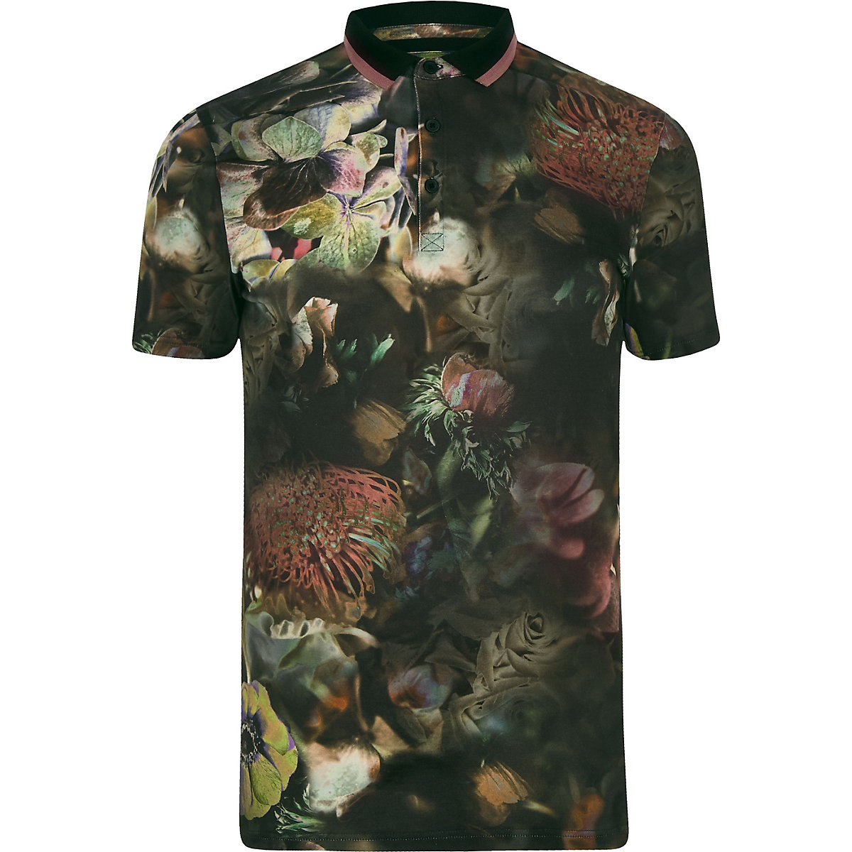 Big and Tall black floral polo shirt