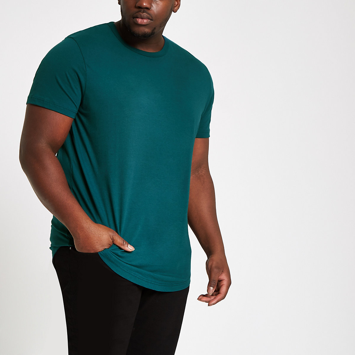 Big & Tall – T-Shirt in Türkis mit abgerundetem Saum