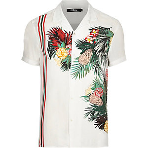 Jaded white tropical print revere shirt