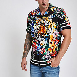 Jaded black animal print revere shirt