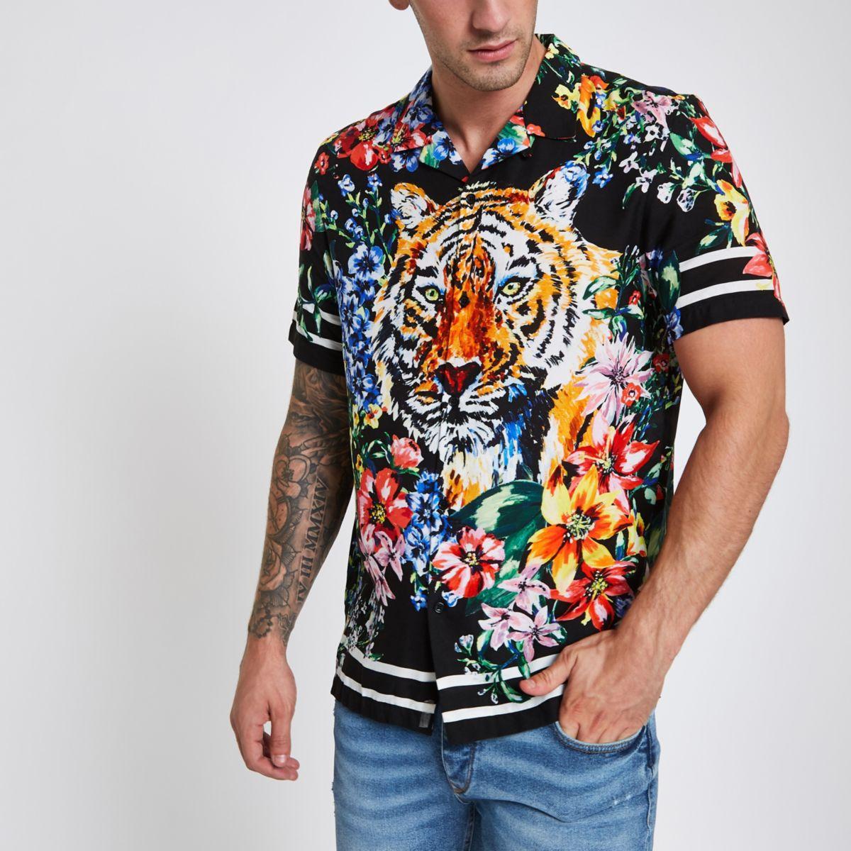 Jaded black animal print revere shirt