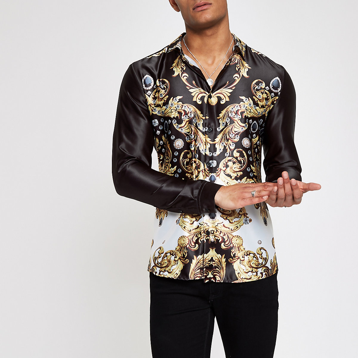 Jaded black baroque satin shirt