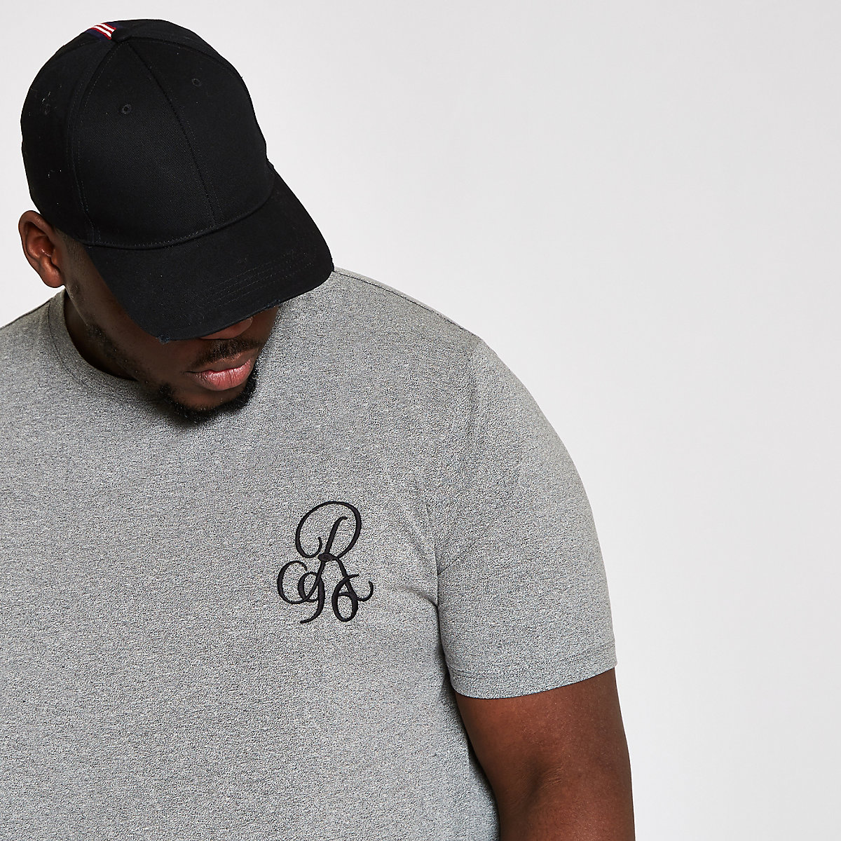 Big and Tall grey R96 curve hem T-shirt