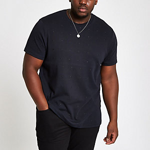 Big and Tall slim fit black studded T-shirt