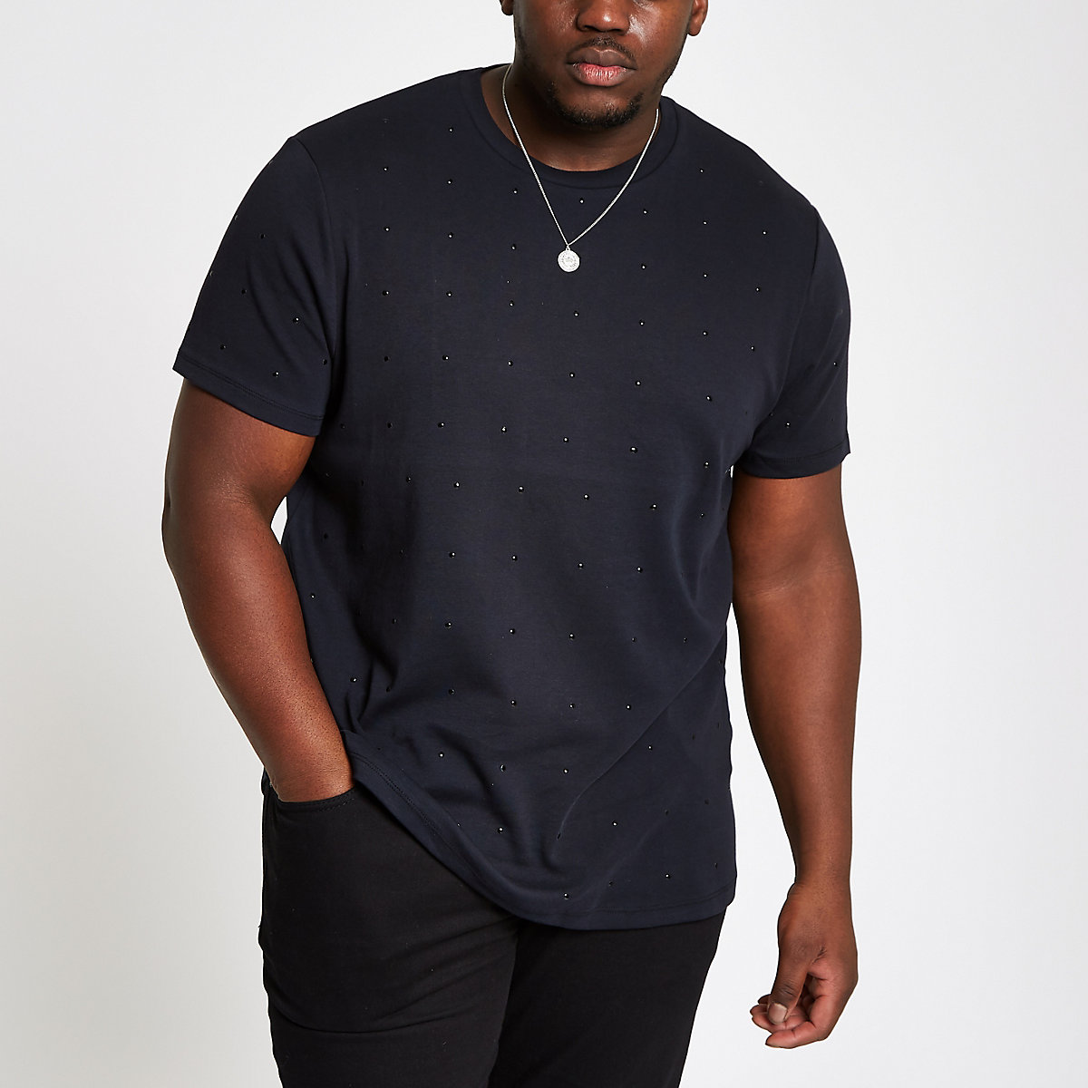 Big and Tall – T-shirt slim noir clouté