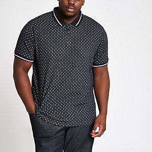 Big and Tall navy jacquard tipped polo shirt