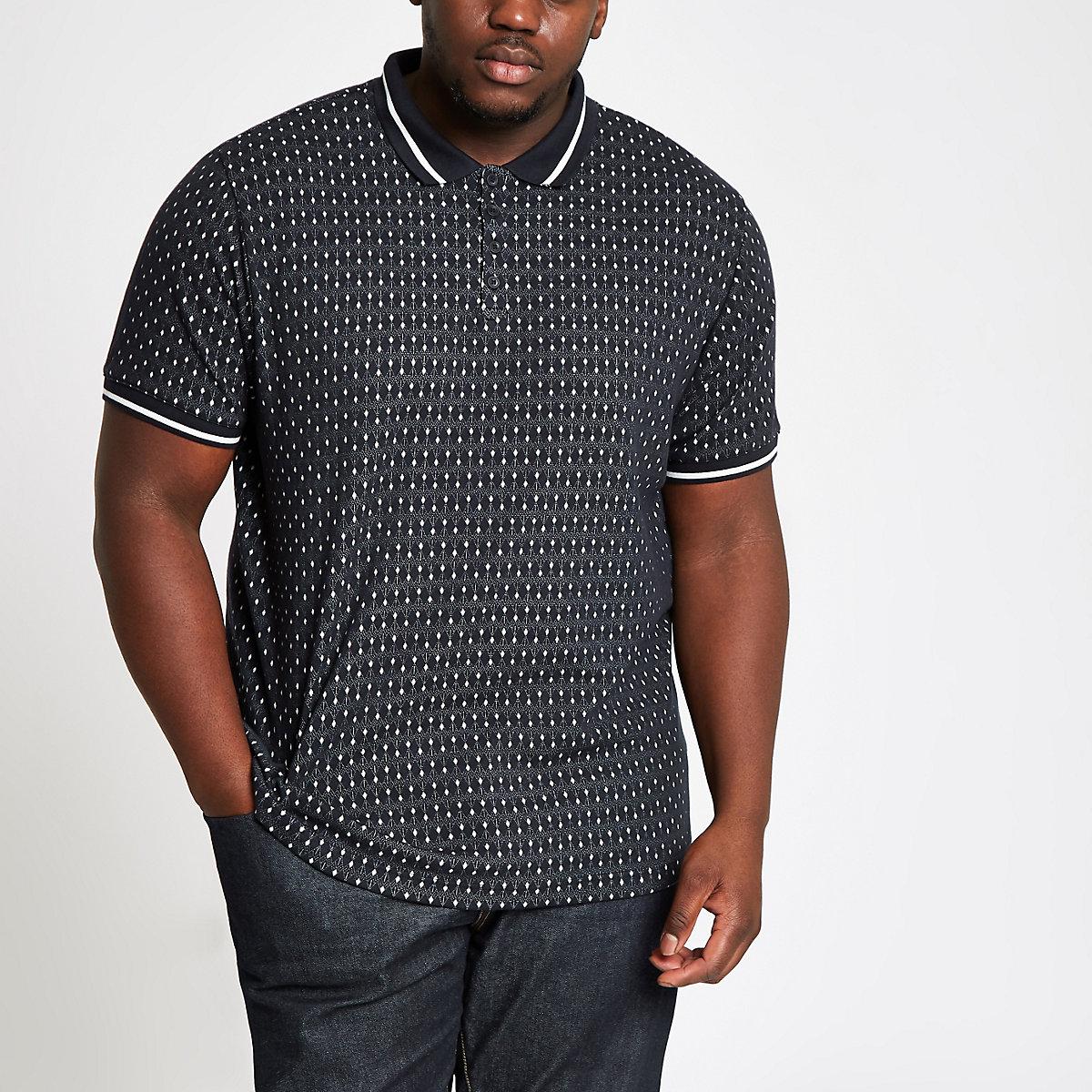 Big & Tall navy jacquard tipped polo shirt