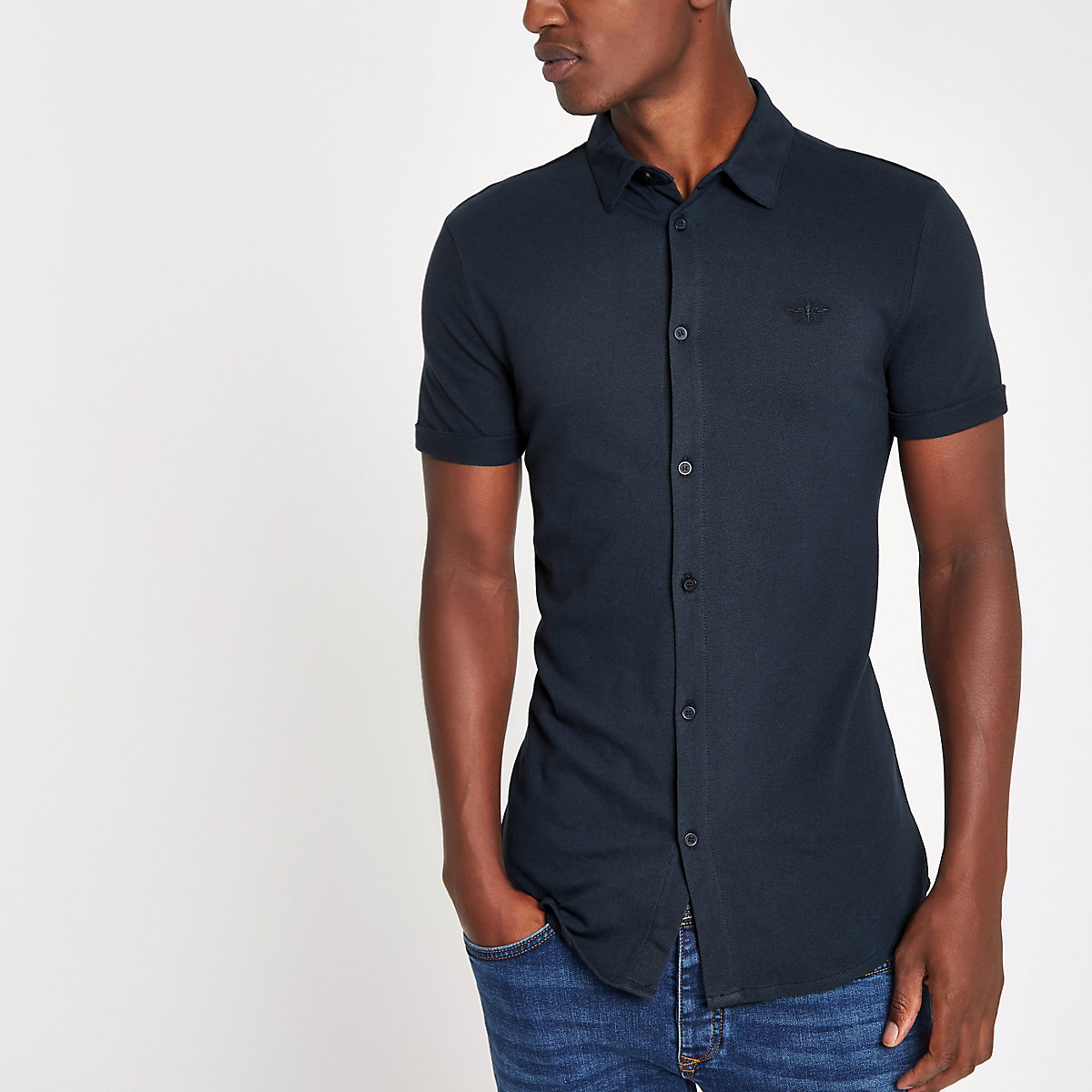 Navy muscle fit button through polo shirt