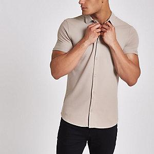 Steingraues, kurzärmeliges Muscle Fit Piqué-Hemd