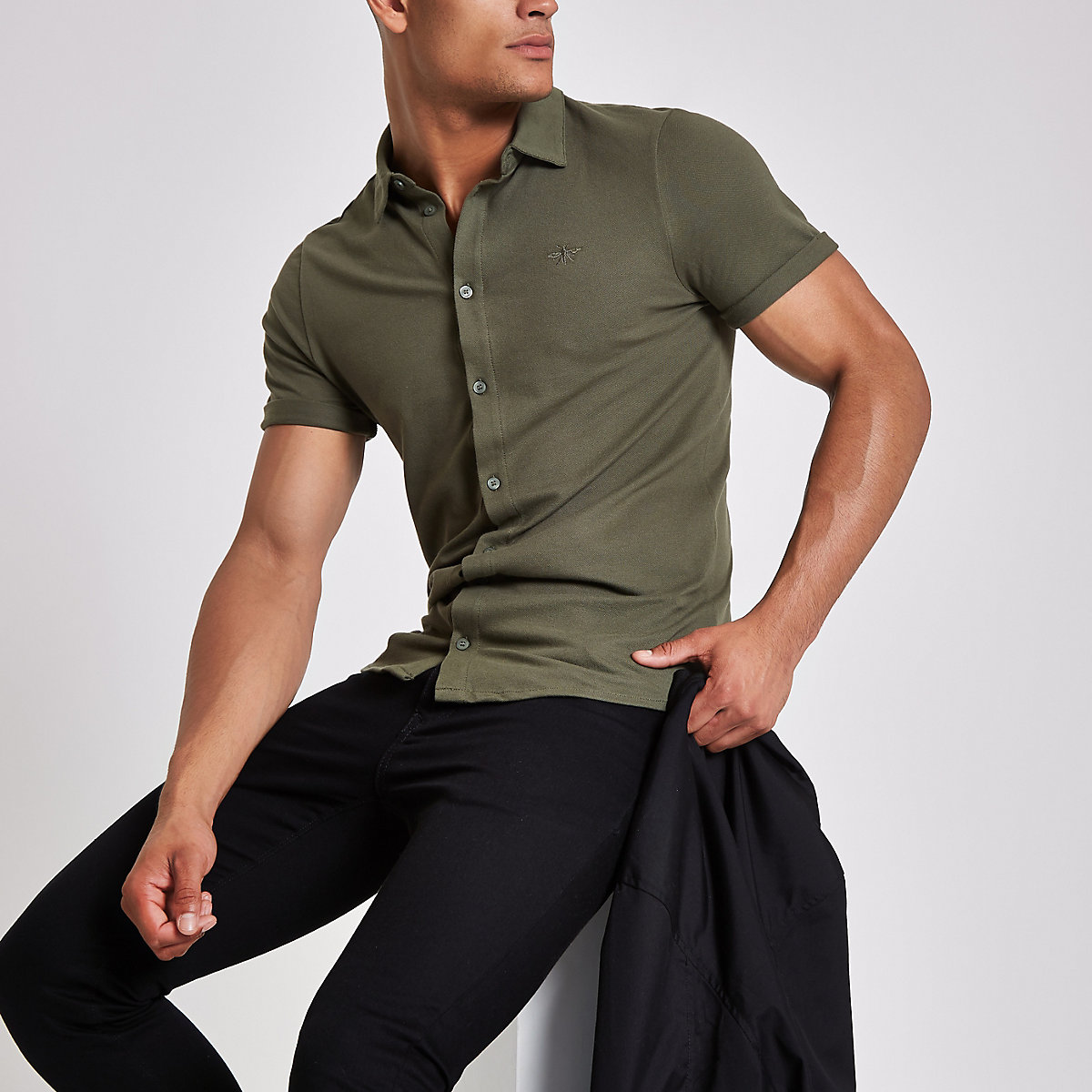 Khaki pique short sleeve muscle fit shirt