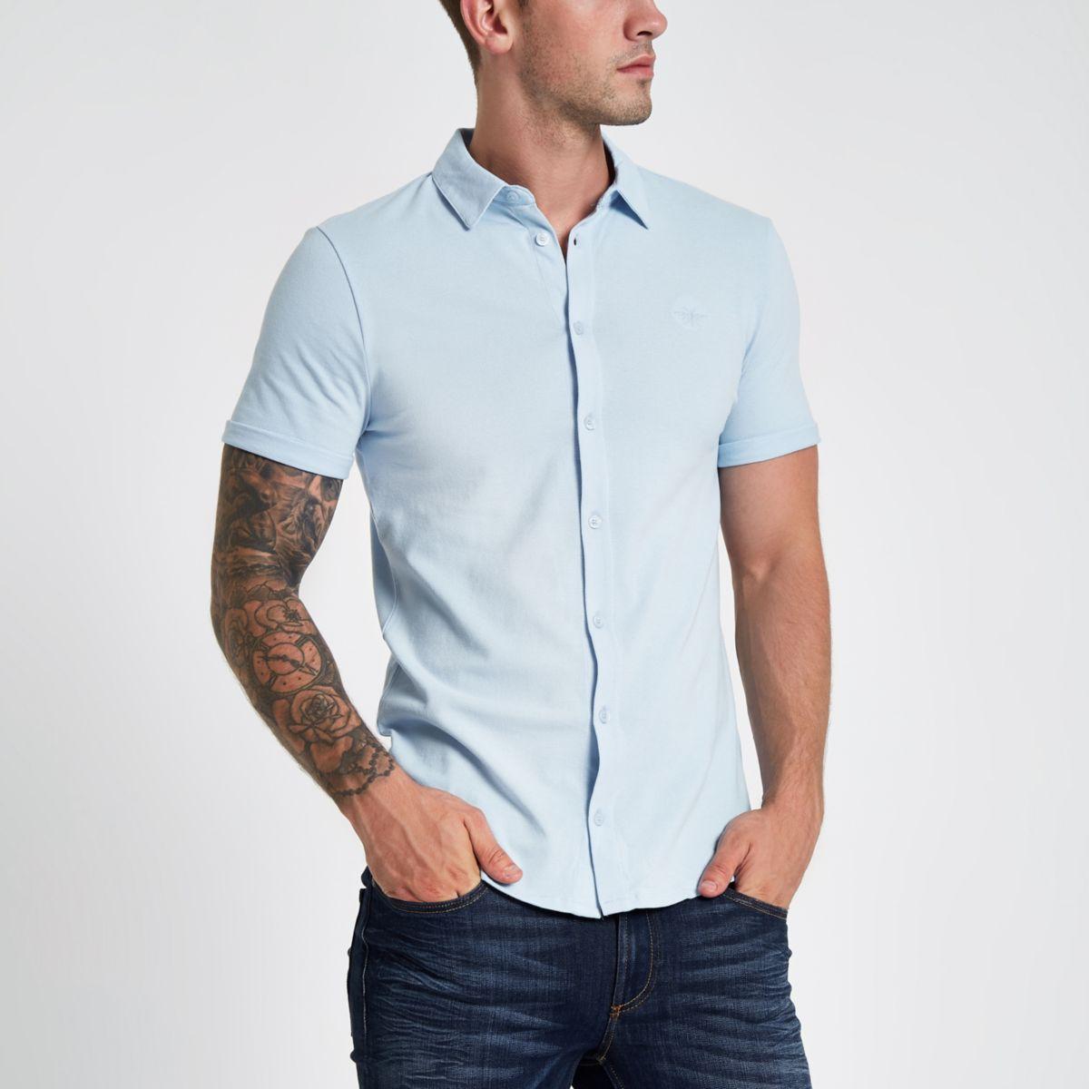 Blue pique short sleeve muscle fit shirt
