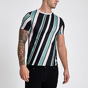 Black diagonal stripe crew neck T-shirt