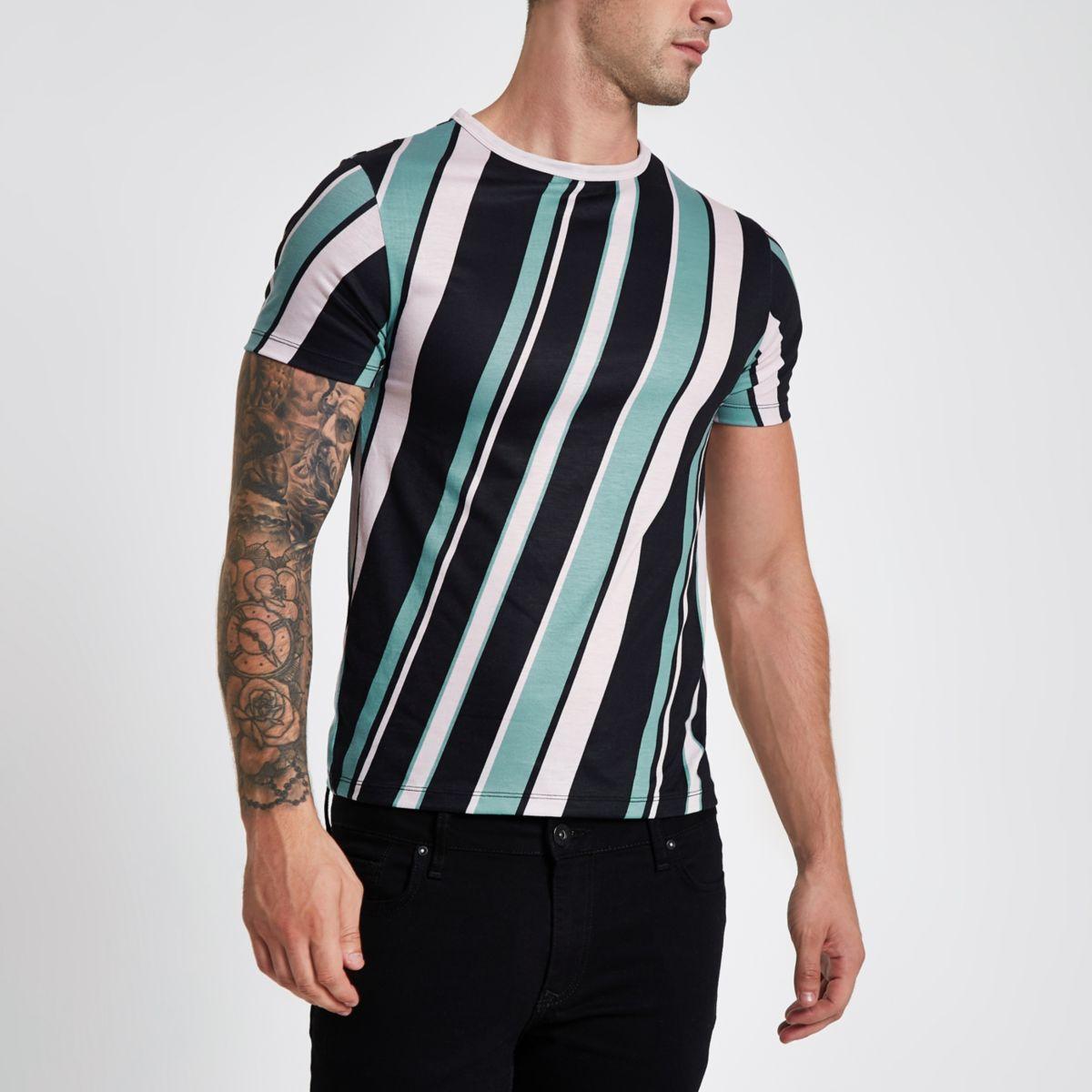 Black diagonal stripe crew neck T-shirt
