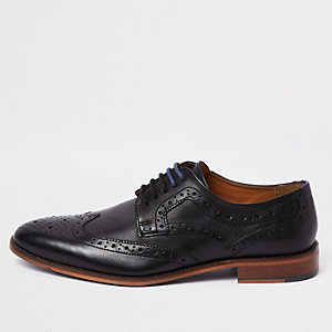 Black leather lace-up brogue shoes