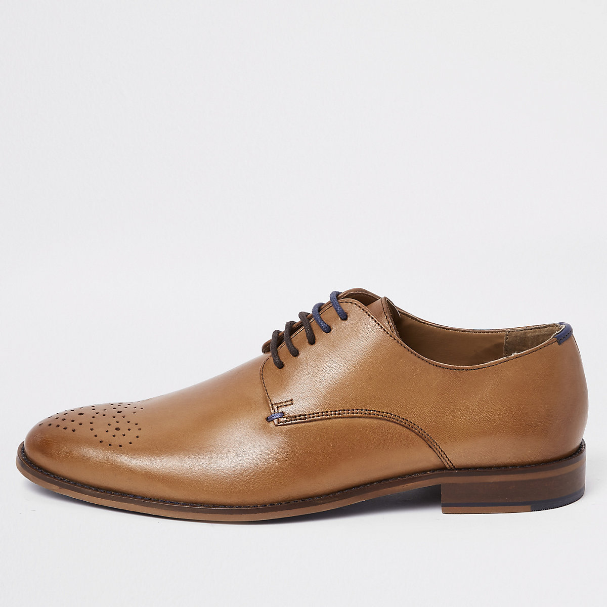 Tan leather lace-up sprayed toe derby shoes
