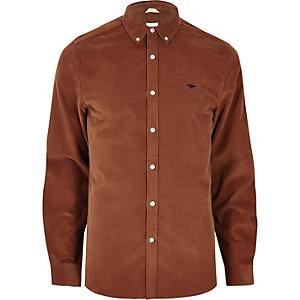 Chemise en velours côtelé marron à broderie guêpe