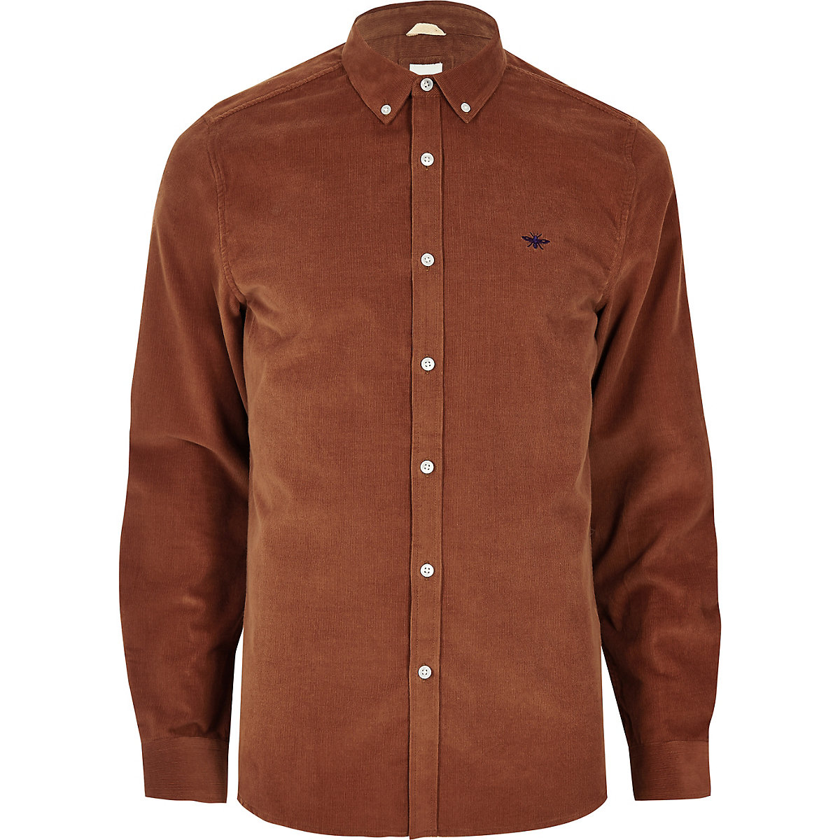 Brown cord wasp embroidered shirt