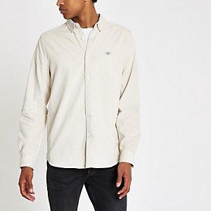 Ecru corduroy overhemd met geborduurde wesp