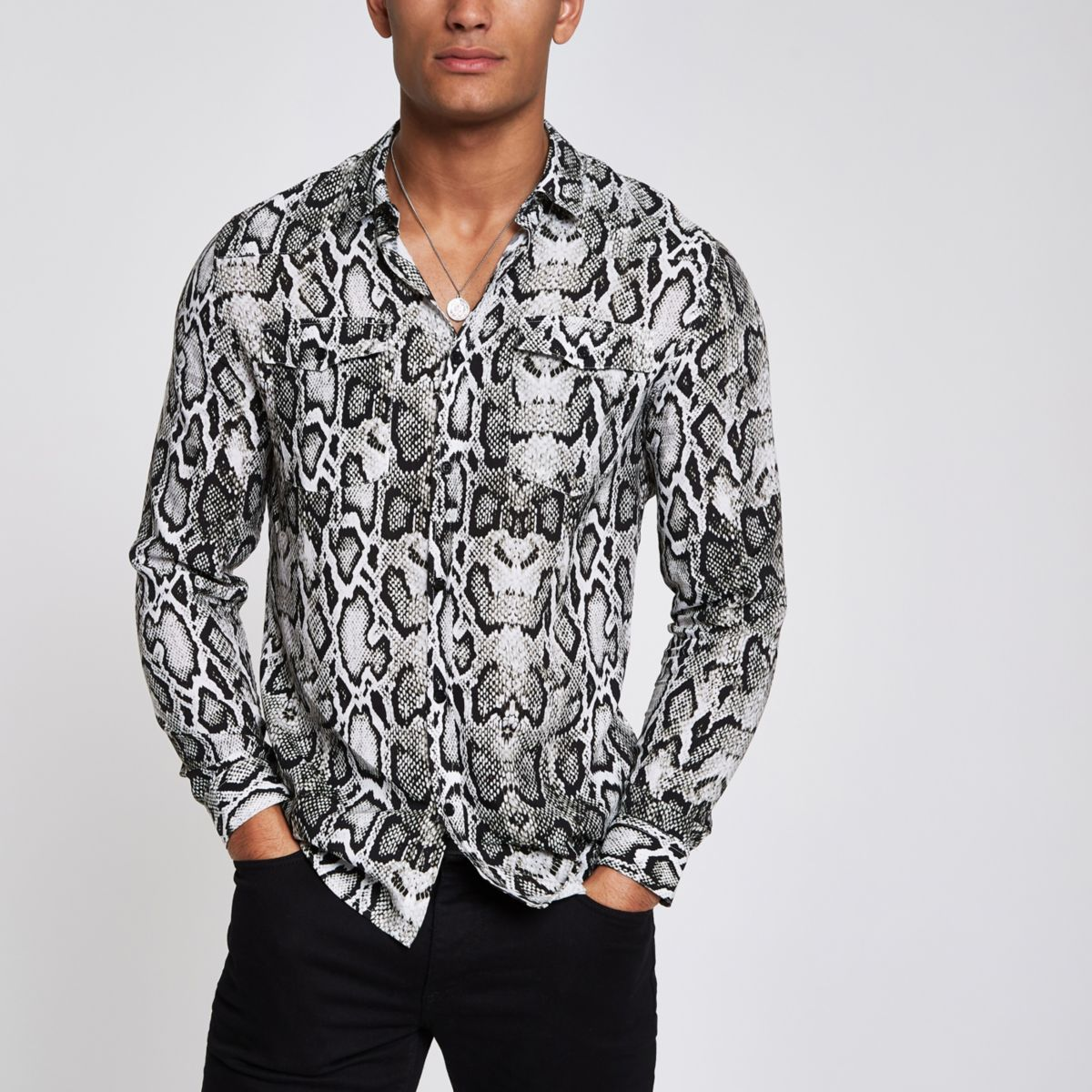 Grey snake print long sleeve shirt