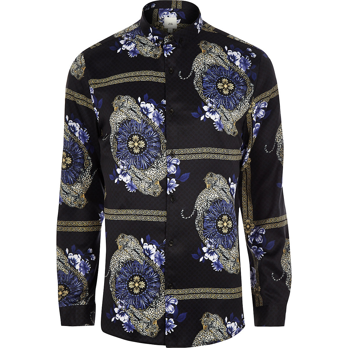 Black baroque leopard print long sleeve shirt
