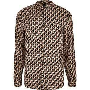 Kiezelkleurig overhemd met geometrische print en lange mouwen