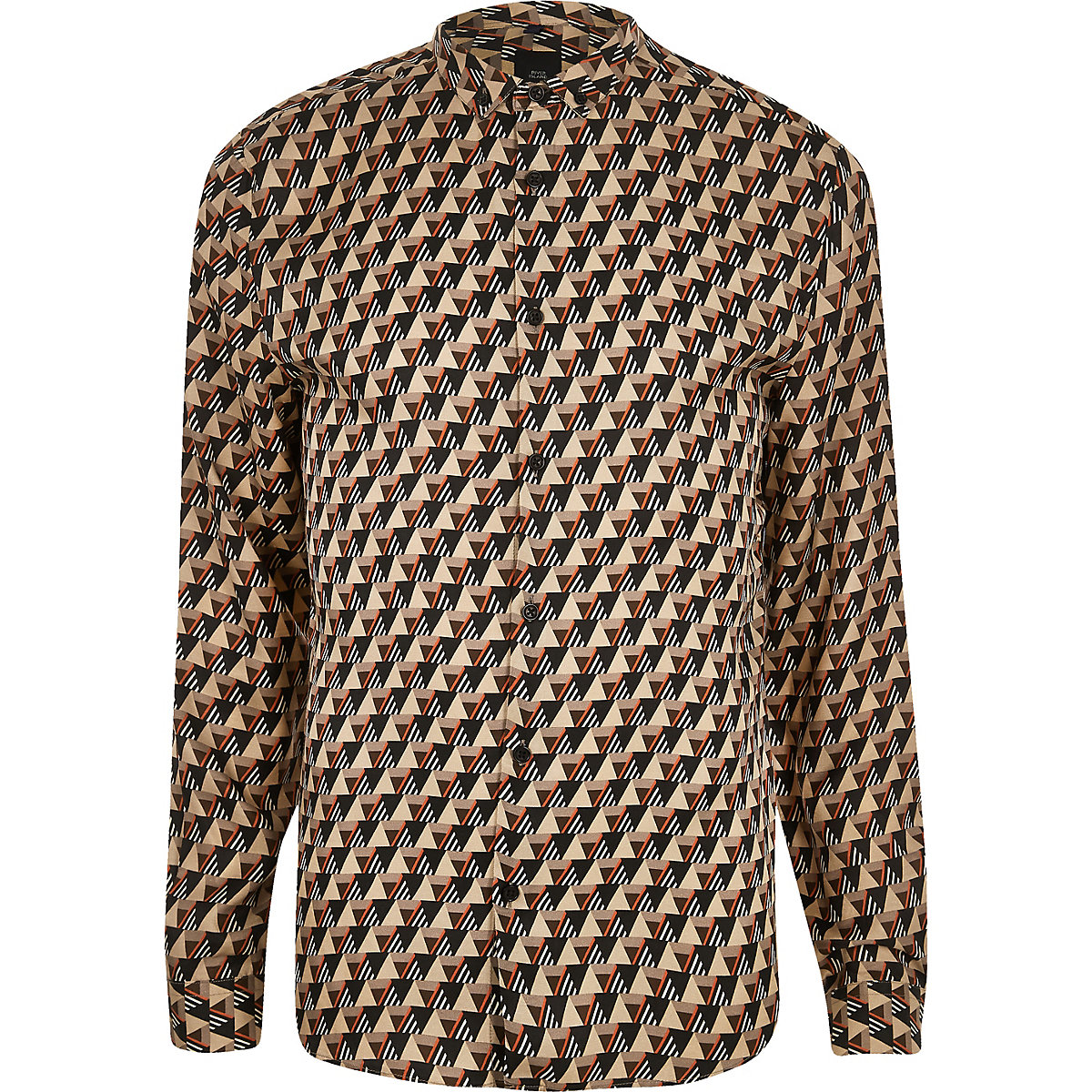 Stone geo print long sleeve shirt