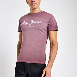 Pepe Jeans –T-shirtbordeaux à logo