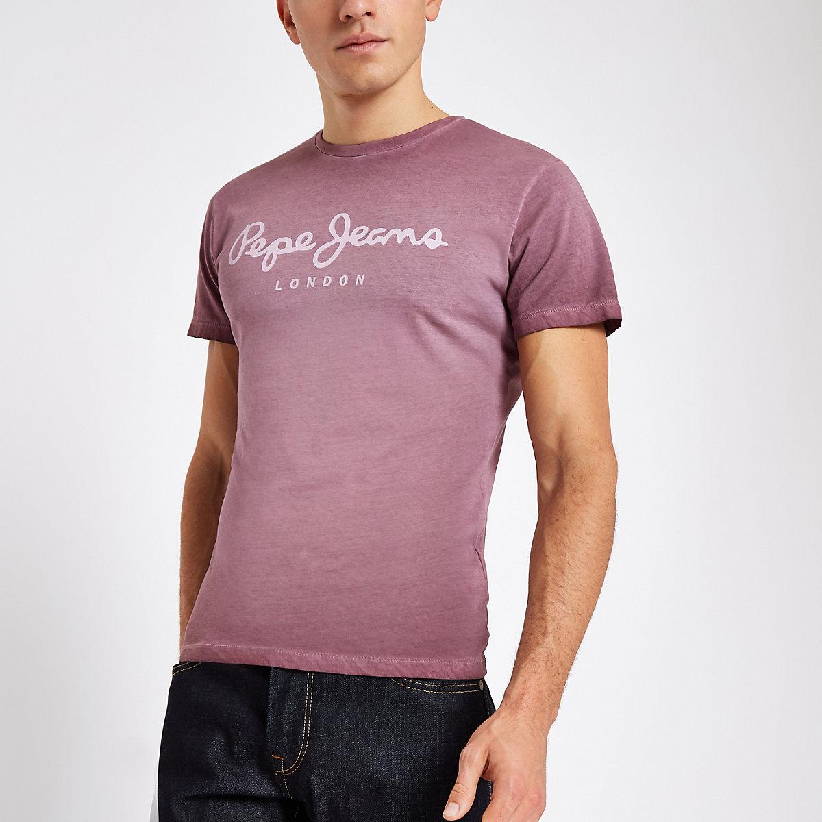 Pepe Jeans burgundy logo T-shirt