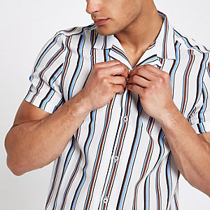White stripe short sleeve revere shirt