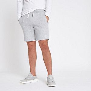 Grijs gemêleerde geborduurde slim-fit jersey short