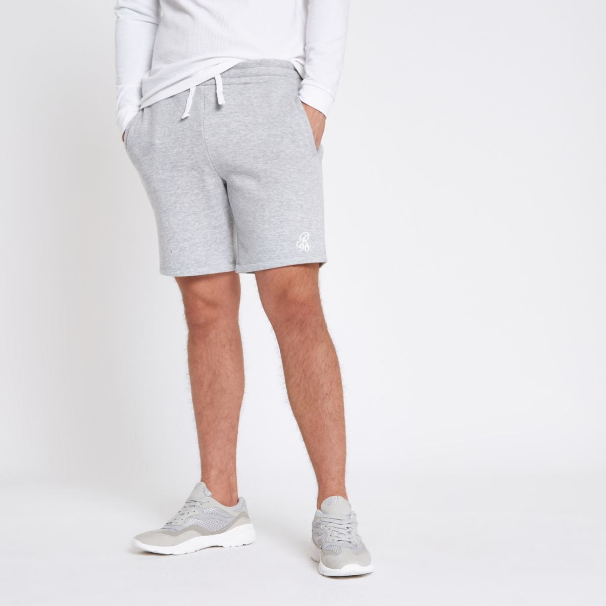 Grey marl embroidered slim fit jersey shorts