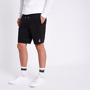 Black 'R96' slim fit fleece shorts