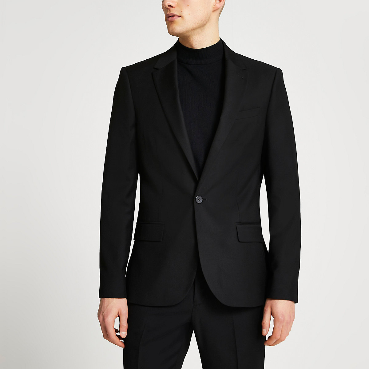 Black skinny fit suit jacket