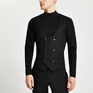 Black double breasted suit vest