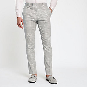 Grijze geruite skinny pantalon
