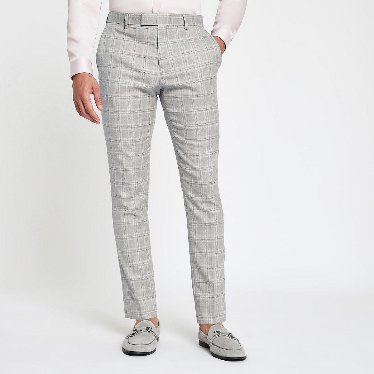 Grey check skinny suit pants