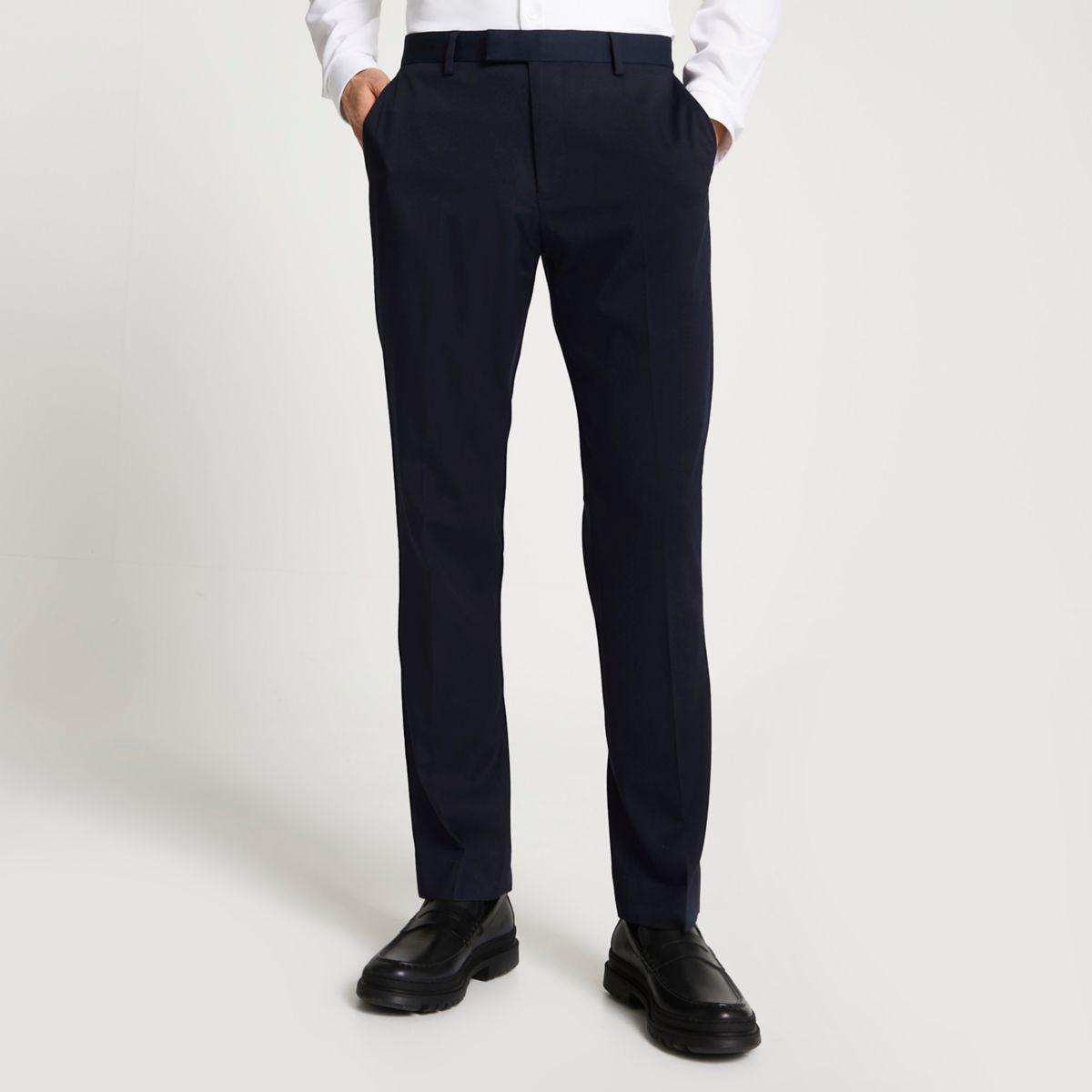 Navy slim fit suit pants