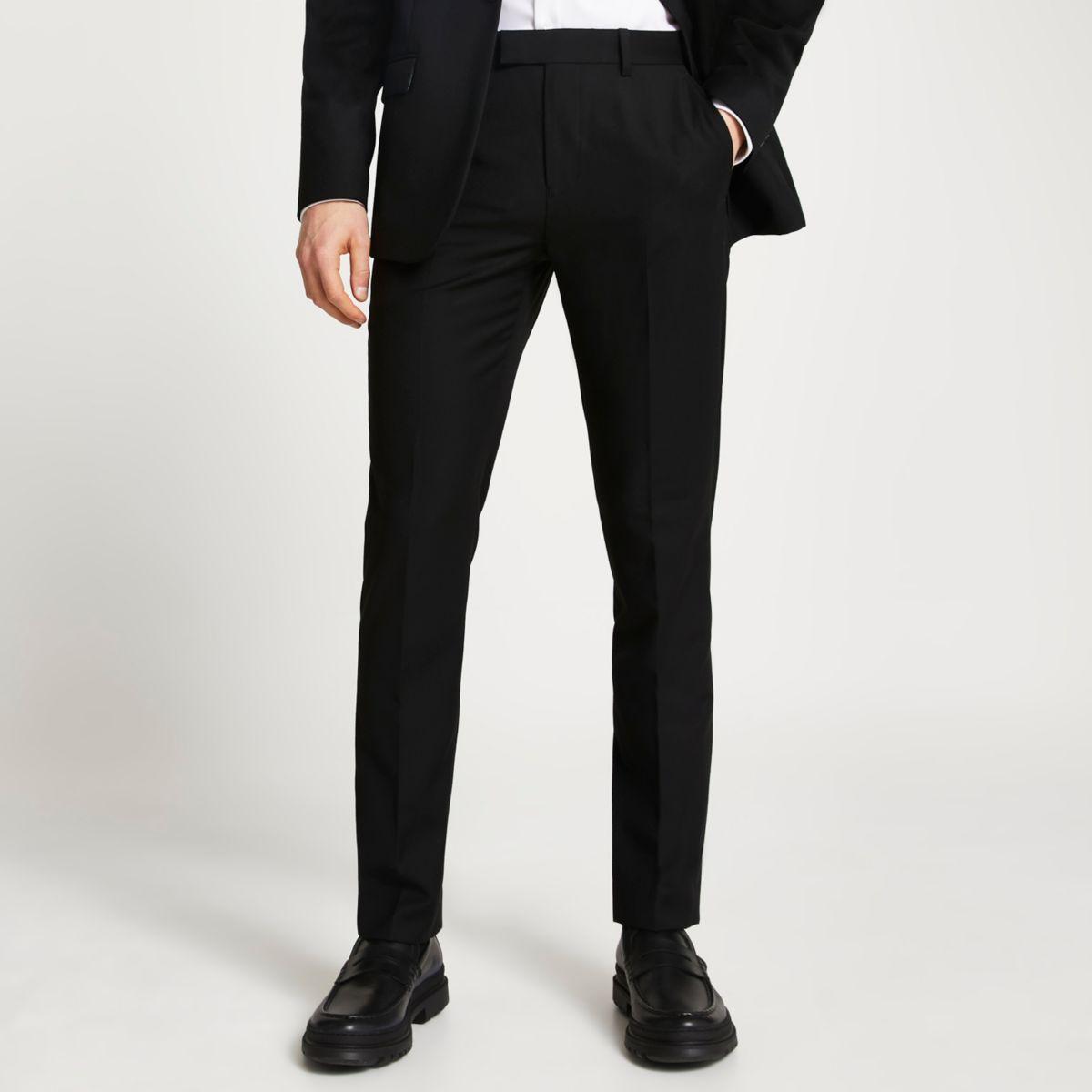 Black slim fit suit pants
